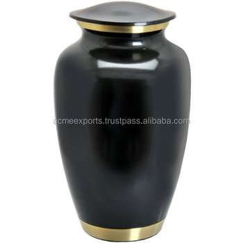 Funeral ashes containers In Brass Metal With Black Glossy Finish