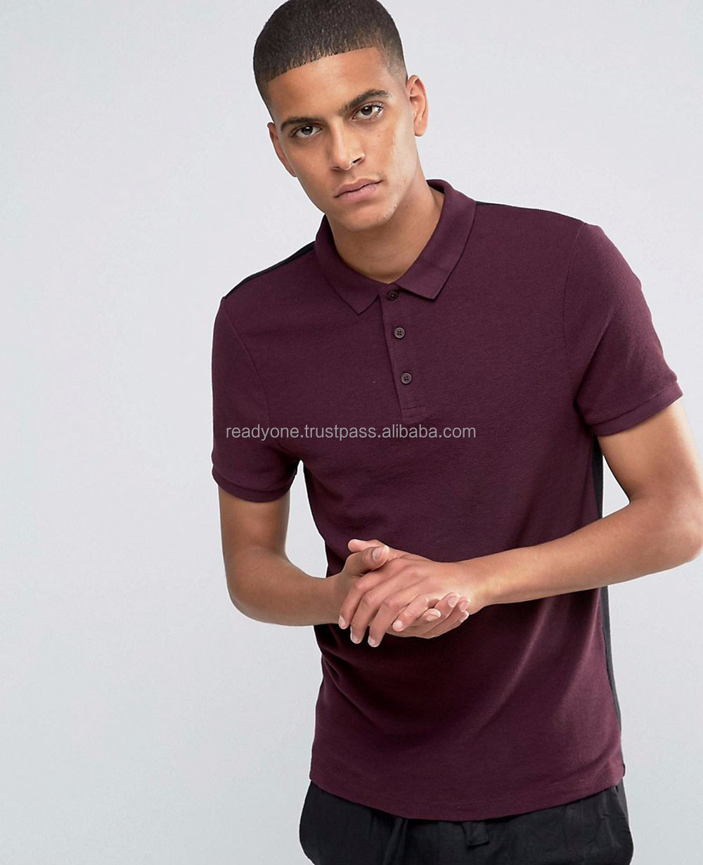Wholesale cheap custom stretch jersey slim cut sleeves muscle fit mens polo shirt