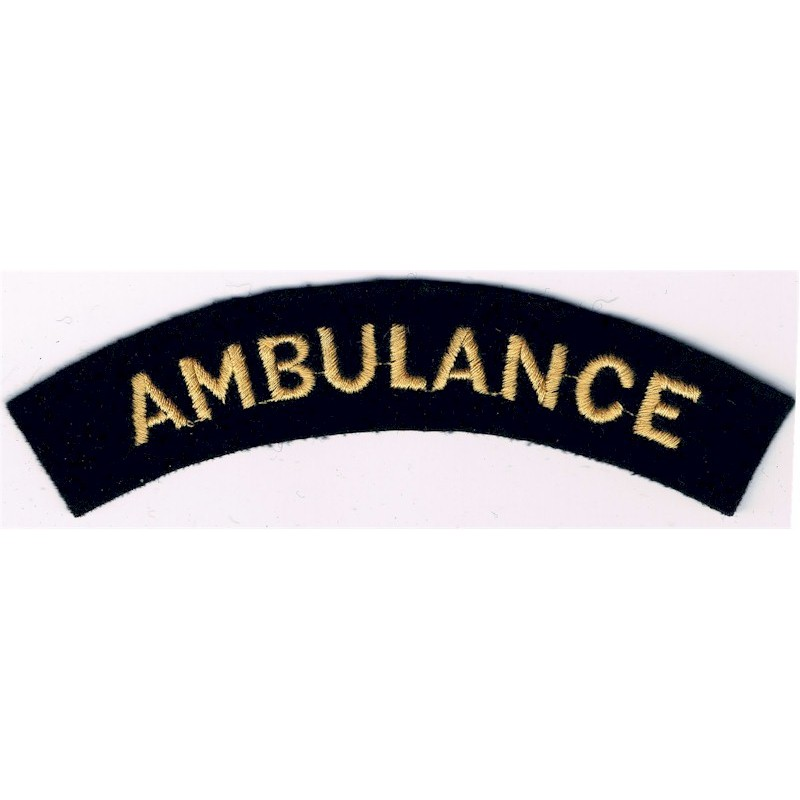 Ambulance (Shoulder Title) Yellow On Dark Blue Embroidered Civil Defence