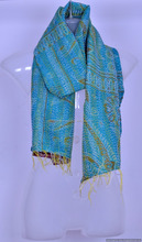 Scarf Reversible Hand Stitched Kantha Scarves Designer Neck Wraps Bohemian Hijab