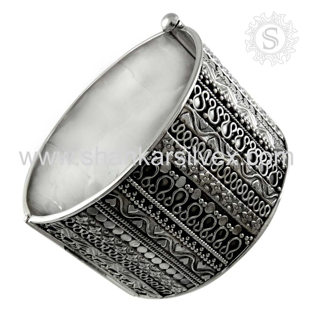 High Polish Bangle Exporter 925 Sterling Silver Ring Handmade Silver Jewelry Wholesale