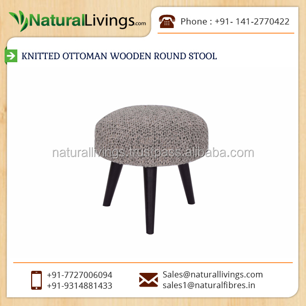 Tough and Solid Material Made Knitted Ottoman Wooden Round Stool for Sale