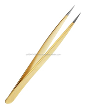 gold straight eyelash tweezers/ eyelash tweezers gold/ straigh eyelash tweezers in gold plated/ straight tweezers