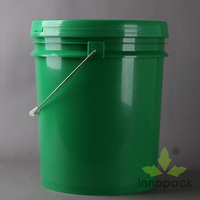 green color 5 gallon plastic bucket with metal handles and lids with sealing strip