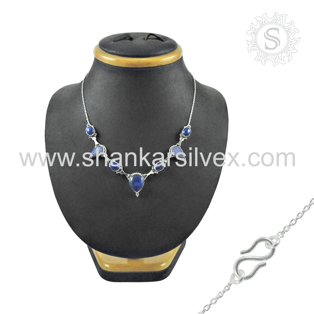 Classic Indian Jewelry Druzy Lapis Necklace Sterling Silver Necklace All Occasions Indian Silver Jewelry