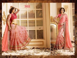 Embroidered Fancy Party Wear Saree
