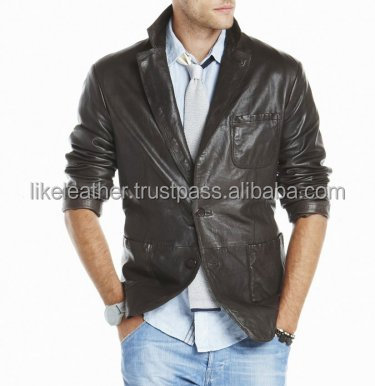 latest quality leather coat, Men's casual coat/ pure leather coat