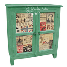 Green color two doors wooden cabinet furniture