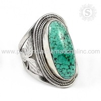 Vintage exhibition turquoise gemstone silver ring 925 sterling silver jewelry suppliers online silver jewelry