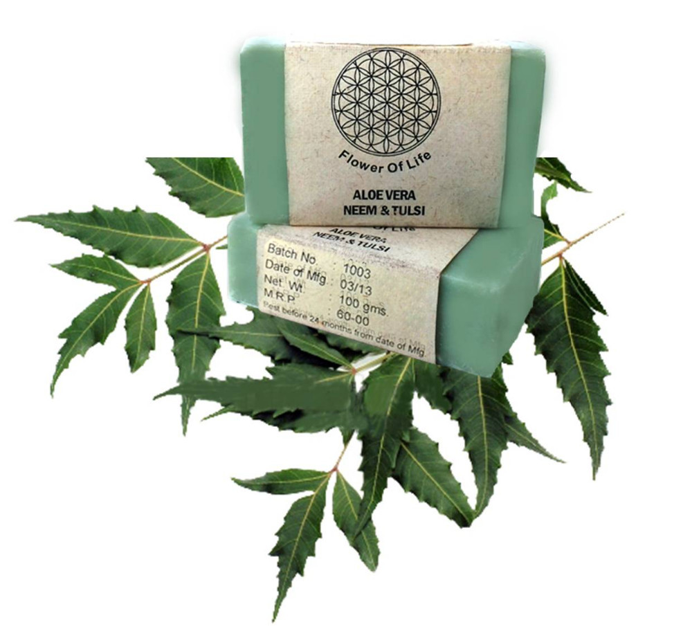 Natural Handmade Neem and Tulsi Soap for Pimple, Acne, Rash-Prone Skin