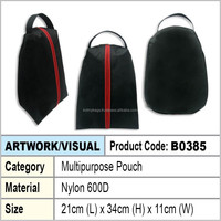 Shoe Bag (black with red piping)