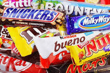 Snickers, Twix, Kit kat, Mars, Bounty chocolates