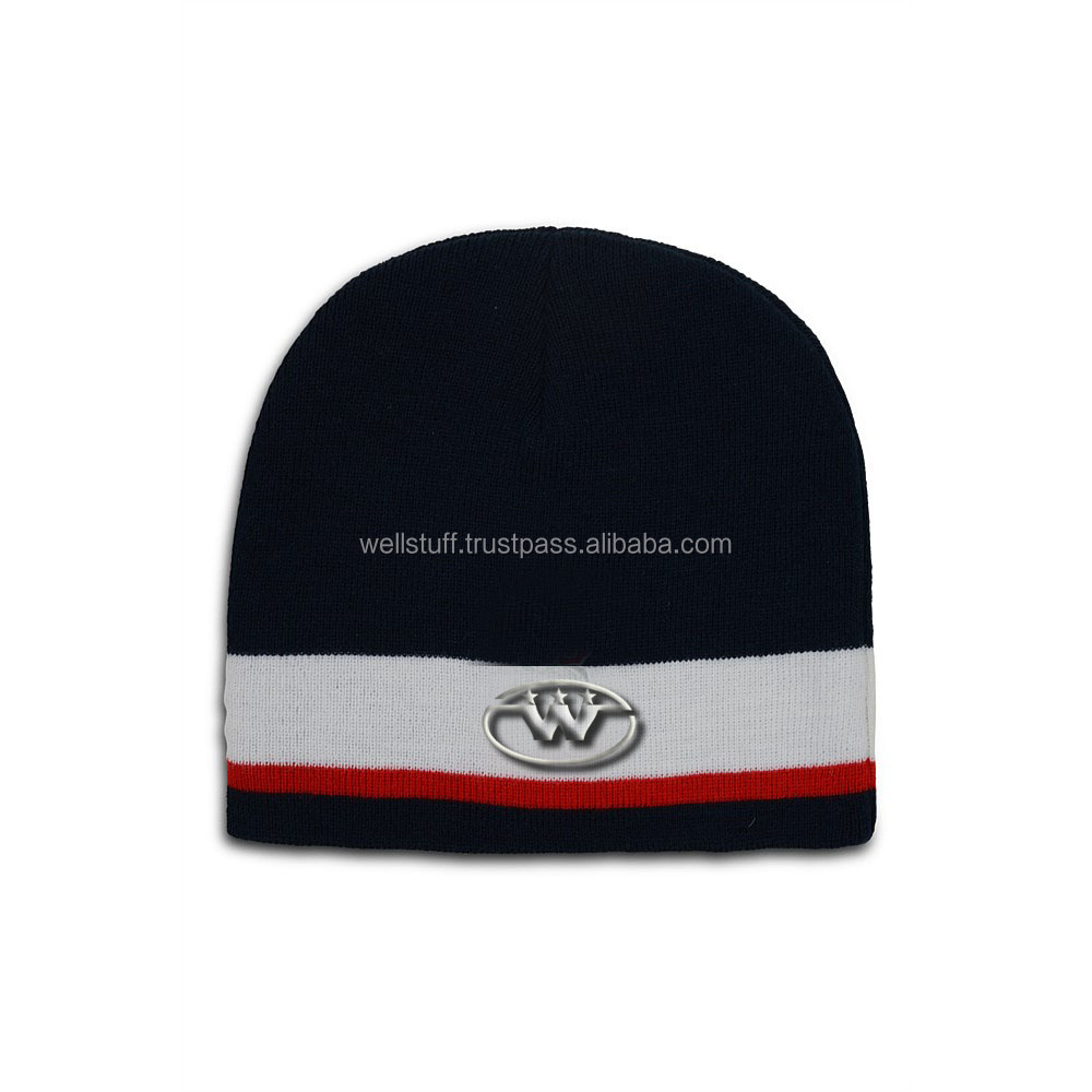 Promotional Custom hot Beanie Hat With Leather Patch / design your own beanie hat by WELL STUFF