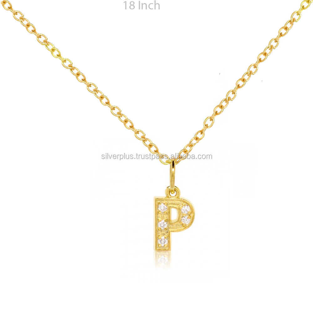 "14k Gold SI2 I-J Color Diamond Alphabet Letter ""P"" Initial Pendant"