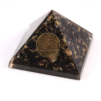 Manufacturer Of Orgonite Products With Lowest Price & Top Quality : Black Tourmaline Pyramid With Metal Flower Of Life