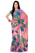 Variation Pink And Blue Pure Georgette Saree (with Blouse Piece)
