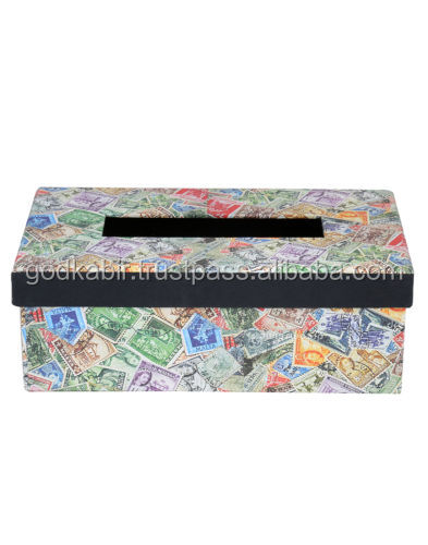 Printed Stamp Cardboard Paper Tissue Paper Box Multi Handmade Organiser Case/Best decorative look design paper boxes.