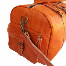Handmade moroccan leather travel bag weekender duffle bag wholesaler 11orange