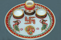 Indian Marble Pooja Thali Plate Handicraft Religious Gift Decor Rich Art And Craft Gallery Hindu God Puja Ganesha India