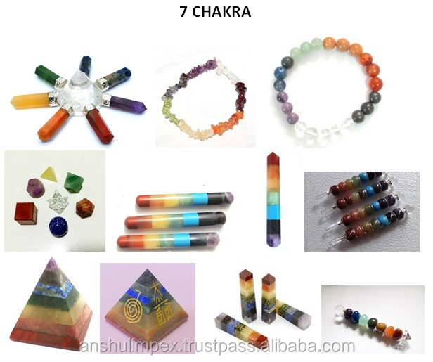 Chakra Pyramid Set with reiki carvings for healing