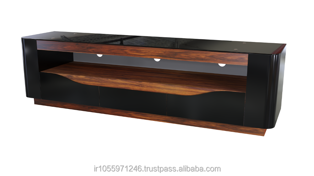 W163 LCD TV Stand , MDF , Luxury ,high-gloss, Bent HPL , Bracket ready , Tempered glass , cheap