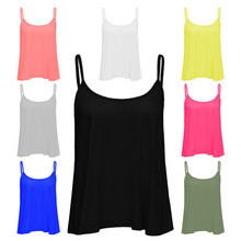 Women's Plain Sleeveless Swing Strappy Cami Top Flared Ladies Vest Top