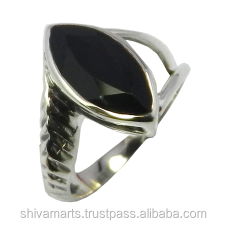 Elegant new style gemstone ring for women fine jewelry 925 sterling silver black onyx marquis gemstone ring