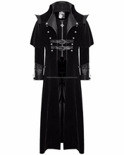 Mens Steampunk Black Velvet Gothic Long Black coat Dark side Jacket