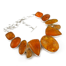 Attractive Natural Amber 925 Sterling Silver Gemstone Necklace, Indian Silver Jewelry, Silver Jewelry Wholesaler