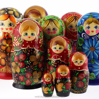 Mix de 5 pcs Russo bonecas do assentamento, 17 cm Matrioshka, arte popular russa, MS0504mix