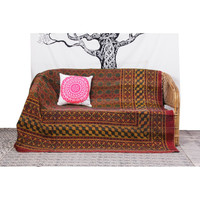 Traditional Ethnic Block Printed Kantha stretched Amazing Blanket Throw Quilt Gudri
