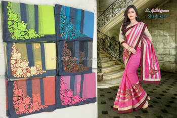 chandery cotton candy border attached embroidery pink saree