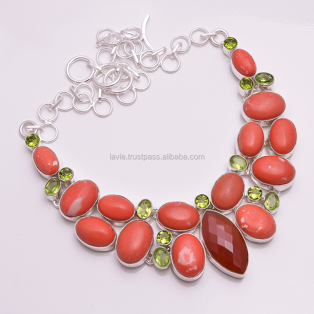 925 Silver Necklace, Natural Red Coral Multi Gemstone Jewelry, Handcrafted Jewelry