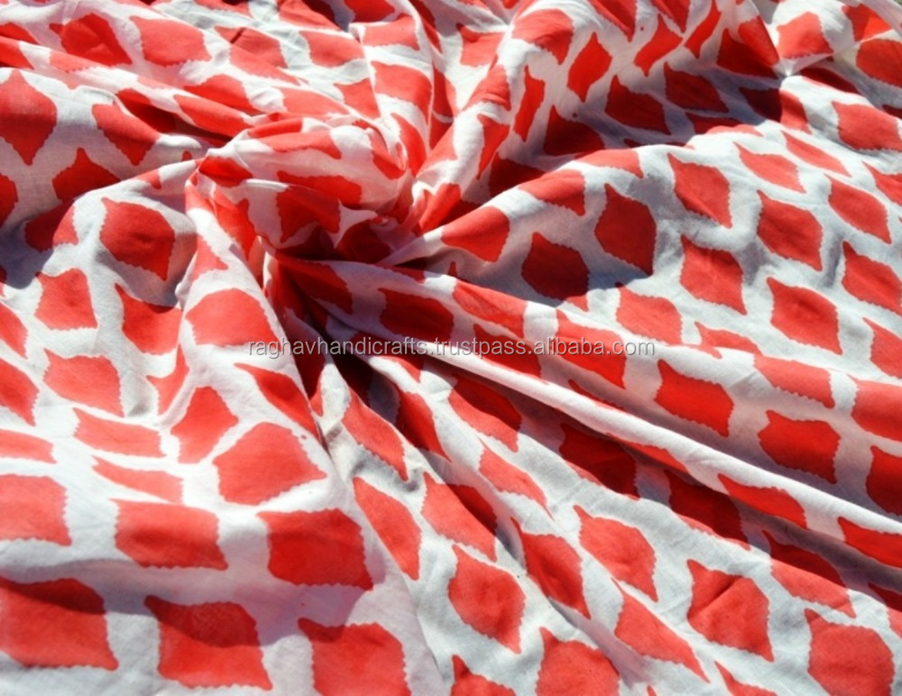 Indian Hand Block Diamond Printed Fabric Cotton Running Red Fabrics Wholesale