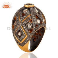 Indian Designs for Men Diamond Ring 18K Gold Plated Fancy Diamond Ring Pave Setting Diamond Ring Wholesale