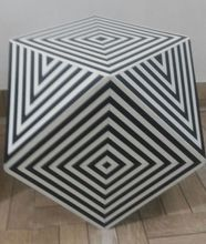 Dice Shape Wooden Stool in MDF Board Covered with Resin for Indoor & Outdoor.