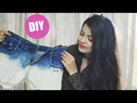 DIY : Bleached/Gradient Shorts || How To Cut Jeans Into Shorts