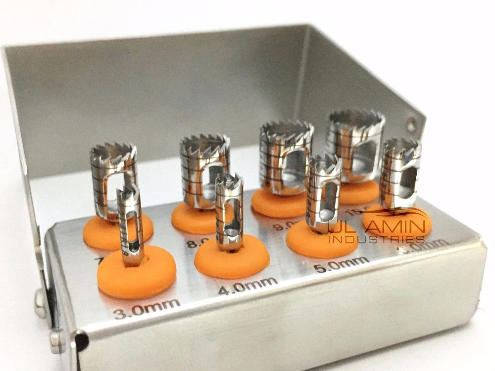 Dental Trephine Drills Kit 8pcs Implant Surgical Surgery Polished Finish FREE Bur Holder B Quality Low Price CE ISO