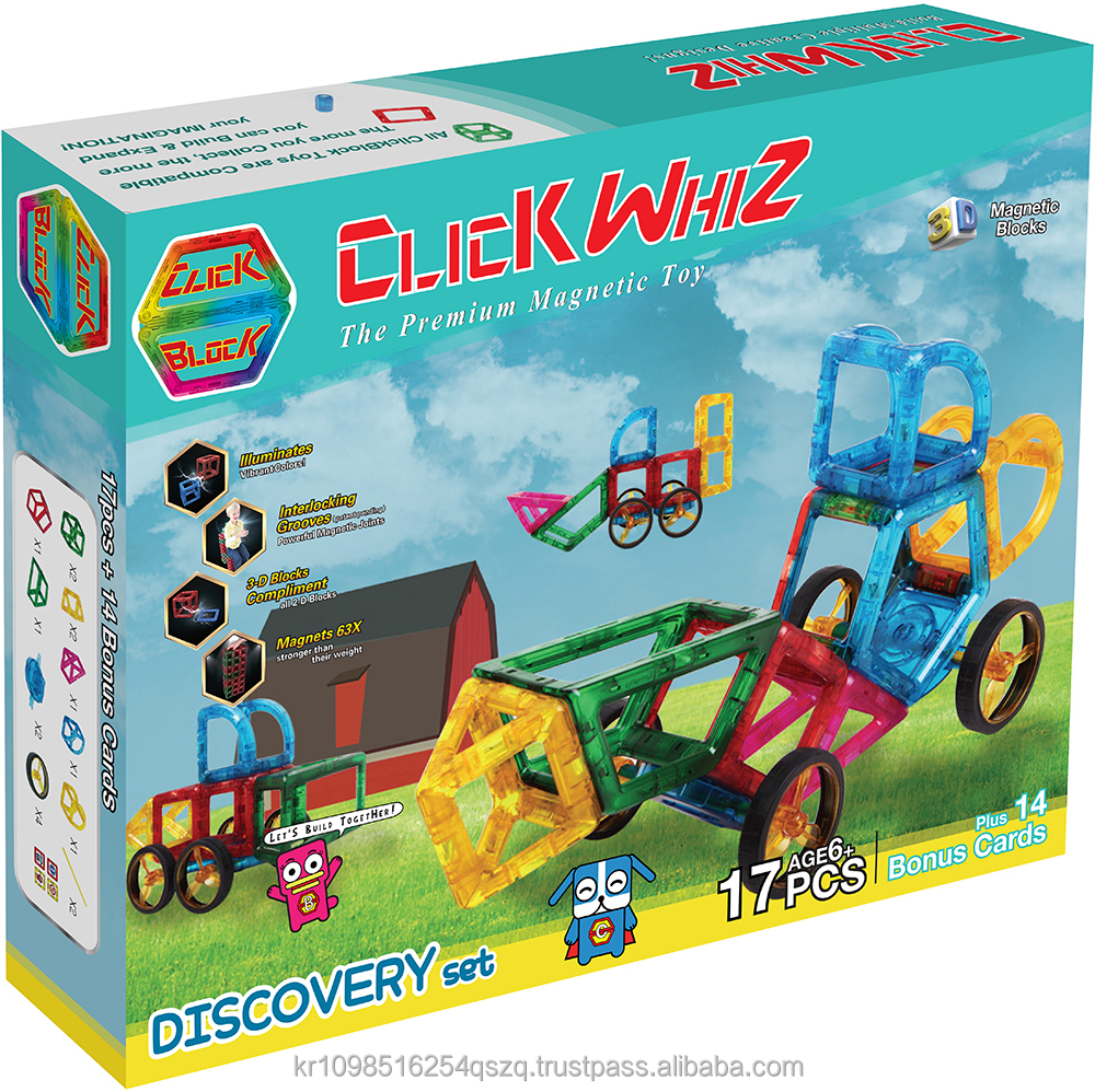 Clickblock magnetic tiles magnetic blocks toy 3D DISCOVERY set