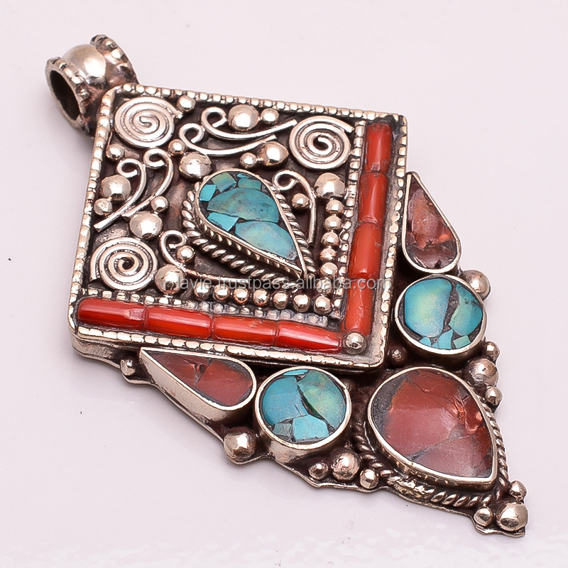 Natural Turquoise, Coral Gemstone Pendant, Tibetan Silver Jewelry, Nepali Jewelry, TP29