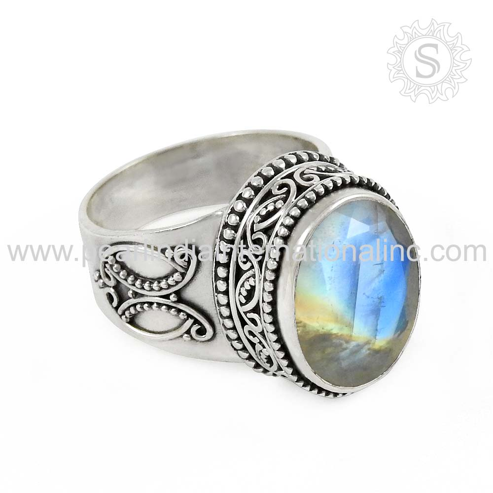 Glittering rainbow moonstone 925 silver ring below wholesale sterling silver jewellery indian silver jewellery online