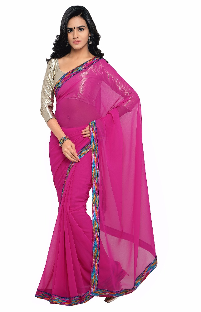 Pleasing Pink Colored Border Worked Faux Georgette Casual Wear Saree