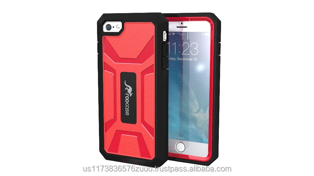 Tough Case Full Body Protective Cover Hybrid PC / TPU Heavy Duty Dual Layer Case for iPhone 6 6s Plus 5.5 inch roocase (red)