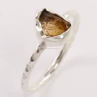 925 Sterling Silver Stunning Ring Size US 8 Natural YELLOW TOURMALINE Gemstone