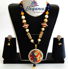 Radha Krishna handmade Pendant Set Indian Traditional Tanjore Pendant Set-South Indian Tanjore Pendant Set Wholesale