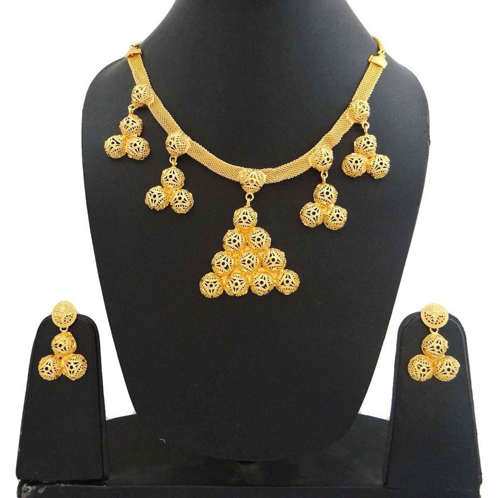 18K Gold Plated Necklace Set Jewelry Indian Women Ethnic Traditional Wear Jewelry Set -BNG587