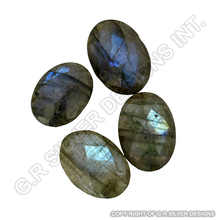 Labradorite faceted gemstones oval loose semi precious stones