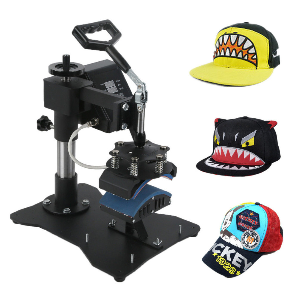 "Black 3.5"" x 6"" Heat Press Hat Digital Transfer Cap Press Machine"