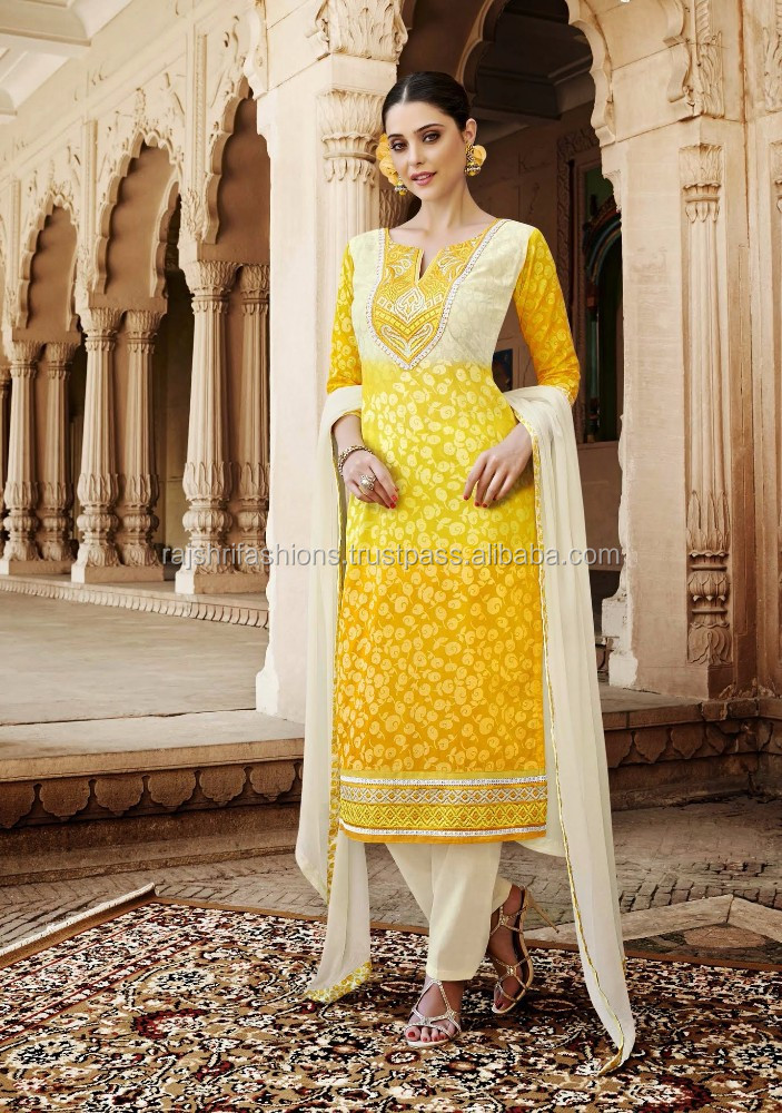 Yellow Color Self Design With White & yellow Embroidery Border Pretty Designer Semi Stitch Salwar Kameez