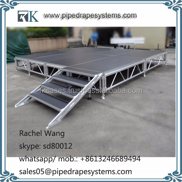outdoor use aluminum truss stage glass swim pool with adjustable riser leg for special event concert